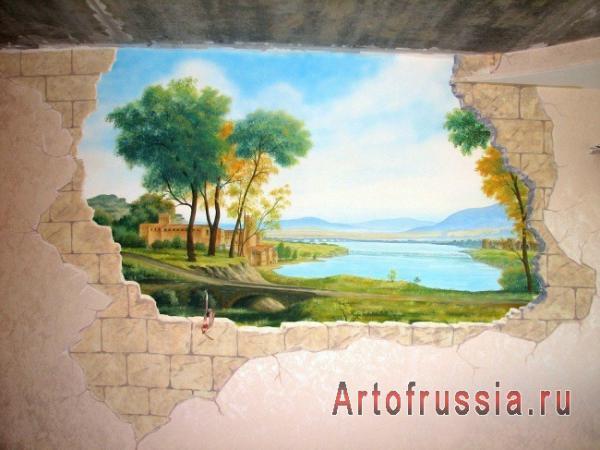 Рисунки на стене в квартире поэтапно природа